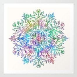 Nature Mandala in Rainbow Hues Art Print