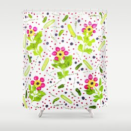 Fruits and vegetables pattern (15) Shower Curtain