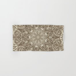 Beige swirl mandala Hand & Bath Towel