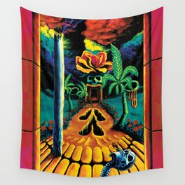 Psychedelic Surreal Trippy Art  by Vincent Monaco - Skull Garden Illusions Wall Tapestry