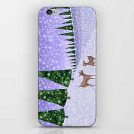 deer in the winter woods iPhone Skin