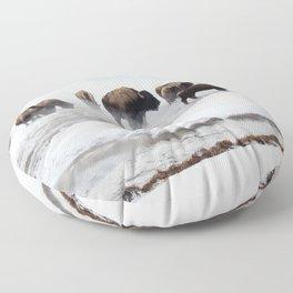 Yellowstone National Park - Bison Herd Floor Pillow