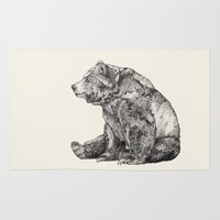 animals Area & Throw Rugs featuring Bear // Graphite by Sandra Dieckmann