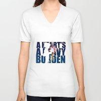 calcifer V-neck T-shirts featuring A heart is a heavy burden by Rebecca McGoran