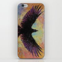 crow iPhone & iPod Skins featuring Crow by Michael Creese