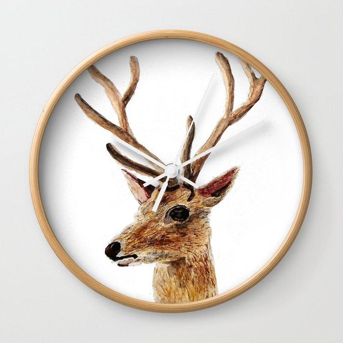 deer watercolor painting Wall Clock