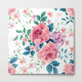 Vintage pink roses bouquet watercolors illustration Metal Print