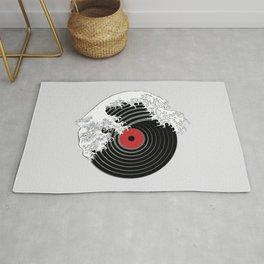 The Great Wave of Music DJ Vinyl Record Turntable Hokusai Rug