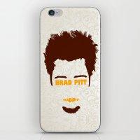 brad pitt iPhone & iPod Skins featuring Brad Pitt Minimalist by Maxvtis