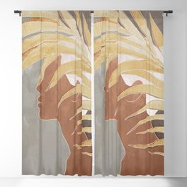 Woman with Golden Palm Leaf Blackout Curtain