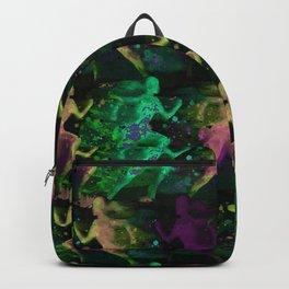 Watercolor women runner pattern on Dark Background Backpack
