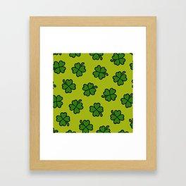 Lucky Four Leaf Clover Pattern Framed Art Print