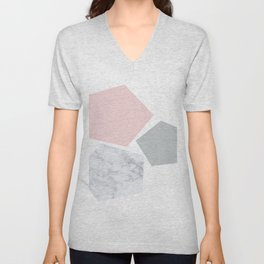 Blush, gray & marble geo Unisex V-Neck