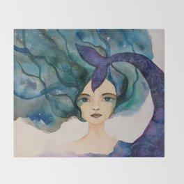 Watercolor Mermaid Blue Green Hair Throw Blanket