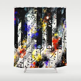 piano keys and music sheet pattern wsstd Shower Curtain