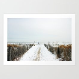 Snow Covered Beach Art Print