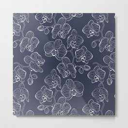 Retro . Orchid flowers on a blue background . Metal Print