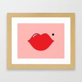Lips (red on pink) Framed Art Print