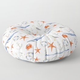 Watercolor nautical pattern Floor Pillow