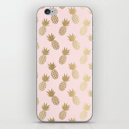 Pink & Gold Pineapples iPhone Skin