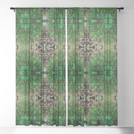 Cocoplum and Cattails op nature pattern Sheer Curtain