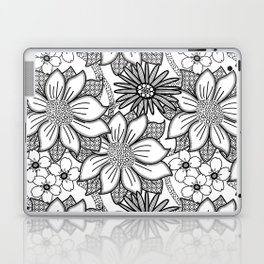 Black and White Floral Drawing Laptop & iPad Skin