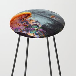 ElectricJellyfish Worlds in a Forest Counter Stool
