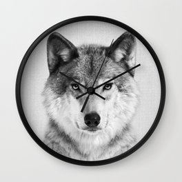 Wolf 2 - Black & White Wall Clock