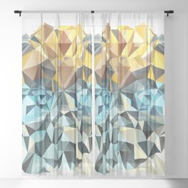 Bumblebee Low Poly Portrait Sheer Curtain