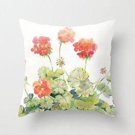 Geranium Watercolor  Throw Pillow