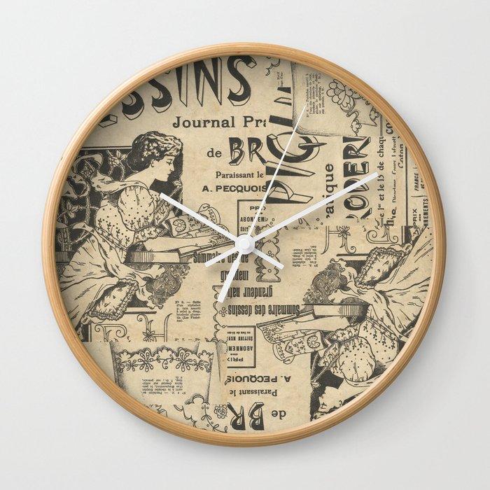Vintage Art Nouveau Collage Wall Clock