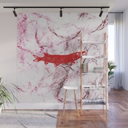 pike in the net (red version) Wall Mural