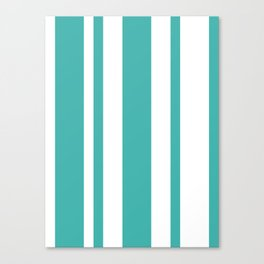 Mixed Vertical Stripes - White and Verdigris Canvas Print