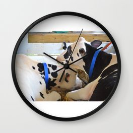 Pair of black and white cows 1 Wall Clock