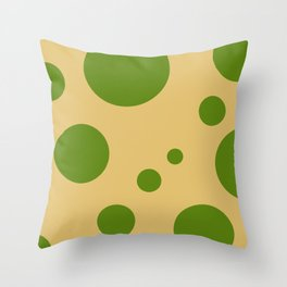 Green bubbles in beige Throw Pillow