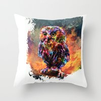 trex Throw Pillows featuring brave little owl by ururuty