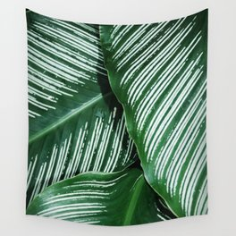 Green Tropical Leaves with White Stripes Closeup Wall Tapestry
