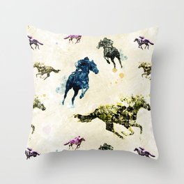 Horse Race Throw Pillow