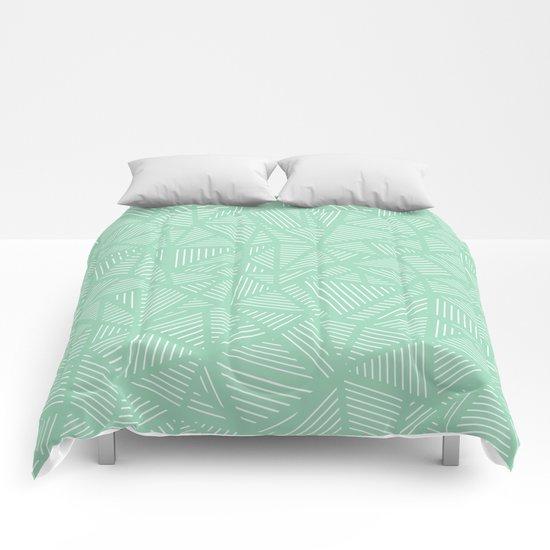 Geo Lines Mint Comforters