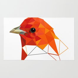 Bird art Summer tanager Orange bird Geometric art Rug