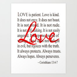 Love is Patient, Love is Kind. Art Print