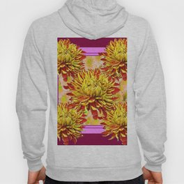 Stylized Abstracted Burgundy Yellow Chrysanthemums Floral Hoody