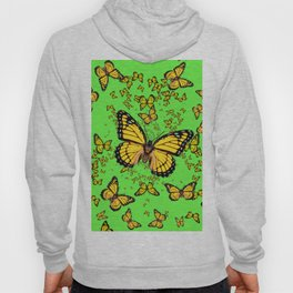 YELLOW BUTTERFLIES GREEN SUMMER ART Hoody