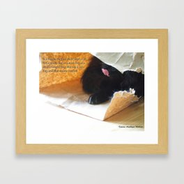 In a bag on the floor there lived a cat, or Black cat in bag Framed Art Print