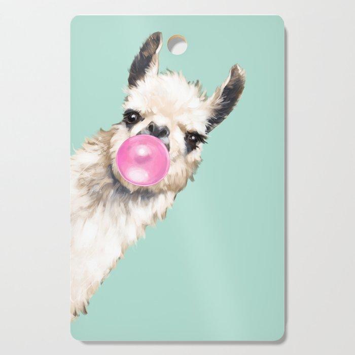 Bubble Gum Sneaky Llama in Green Cutting Board