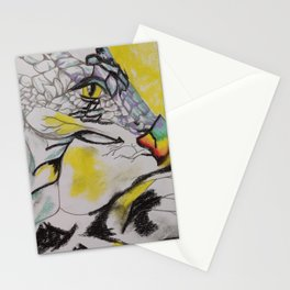 Sun Dragon, powerful mythical beast, sketch, pastels, original art by Luna Smith, LuArt Gallery Stationery Cards