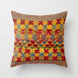 Ait Ouaouzguite Berber Antique Moroccan Saddle Rug Print Throw Pillow