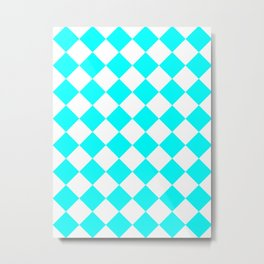 Large Diamonds - White and Aqua Cyan Metal Print