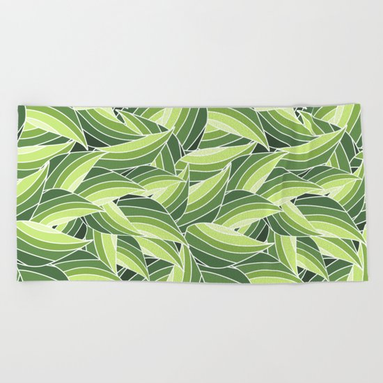 GREENERY LEAVES W  (abstract flowers nature) Beach Towel