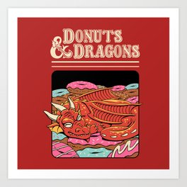 Donuts and Dragons Art Print